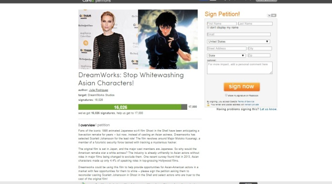 """Care2 Petition Takes On Scarlett Johansson in """"Ghost in the Shell"""""""