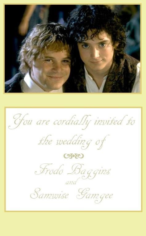 Frodo Sam Wedding Invitation
